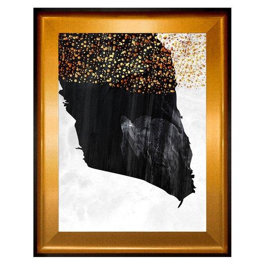 Quadro Abstrato Decorativo com Moldura Preta e Dourada 80x100 cm