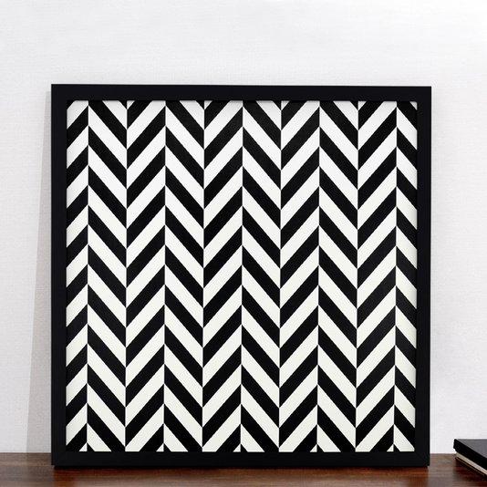 Quadro Abstrato Decorativo Geométrico em Preto e Branco 70x70 cm