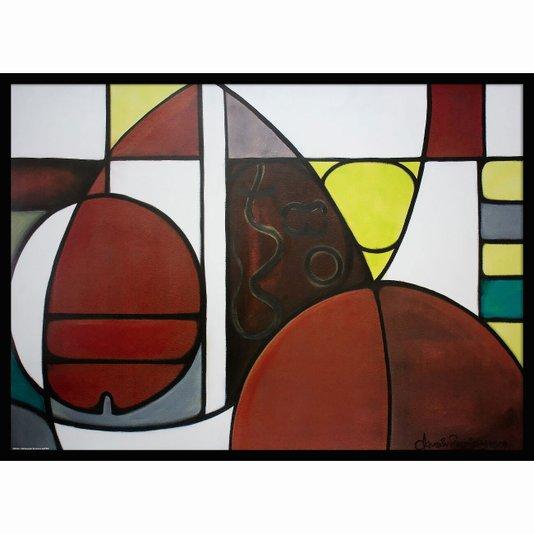 Quadro Abstrato Decorativo Pintura Formas 70x50cm