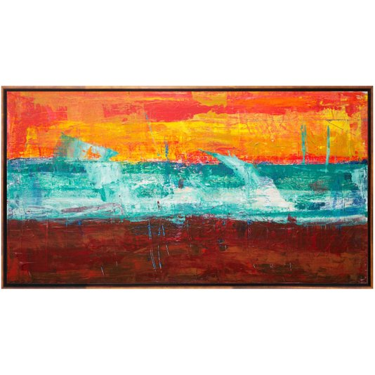 Quadro Abstrato em Tela Canvas com Moldura Cor Mel 160x90cm