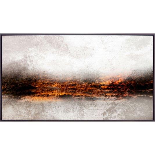 Quadro Abstrato em Tela Canvas com Moldura Prata Envelhecida 180x100 cm