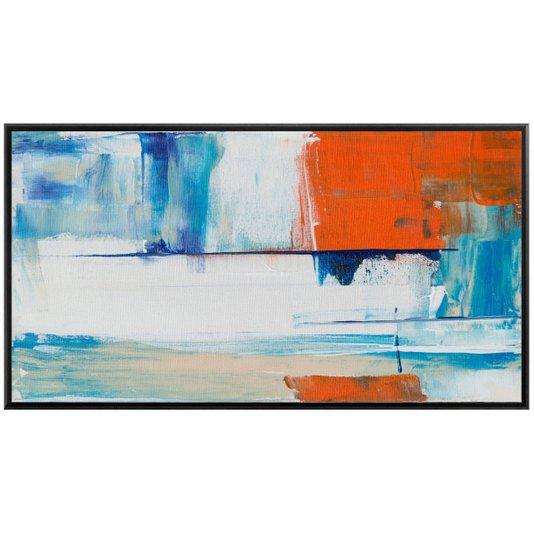 Quadro Abstrato em Tela Canvas com Moldura Preta 160x90cm
