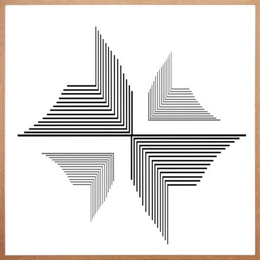 Quadro Abstrato Geométricos Riscos Minimalista 70x70cm