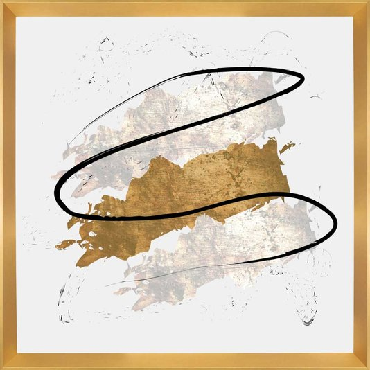 Quadro Abstrato Moderno Arte Gold 75x75cm