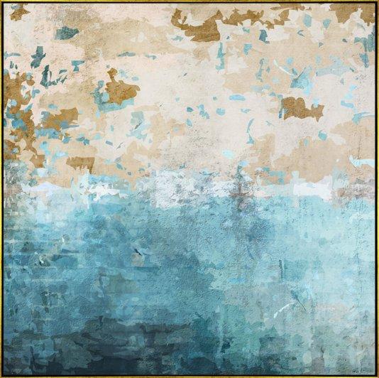 Quadro Abstrato Tela Canvas com Moldura Dourada 120x120cm
