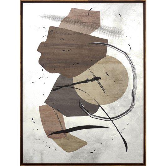Quadro Abstrato Tela Canvas com Moldura na Cor Mel 60x80cm