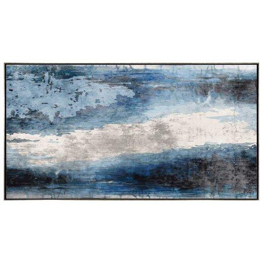 Quadro Abstrato Tela Canvas com Moldura Prata 160x90cm