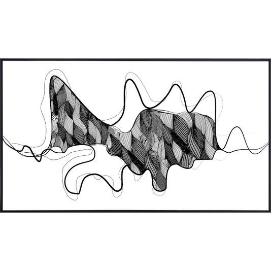 Quadro Abstrato Tela Canvas com Moldura Preta 160x90 cm
