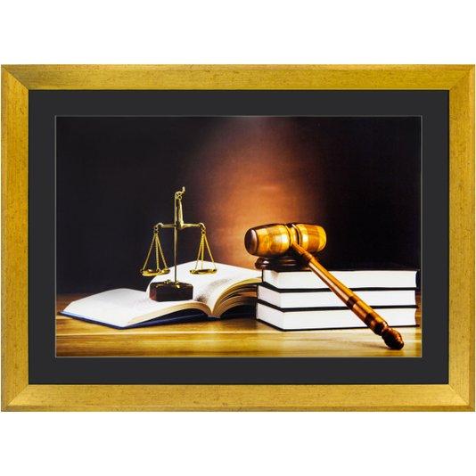 Quadro Advocacia Símbolo da Justiça com Moldura Dourada 55x40cm