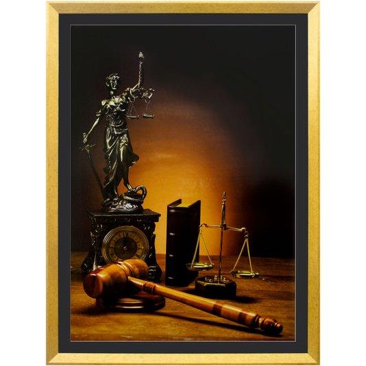 Quadro Advocacia Símbolo da Justiça com Moldura Dourada 70x100cm