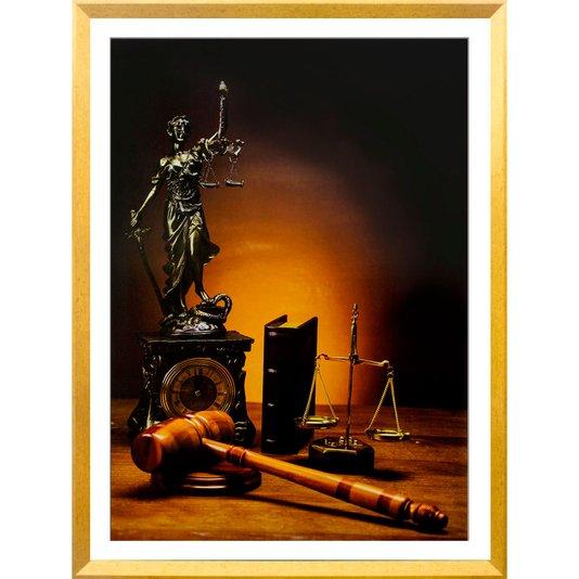 Quadro Decorativo Símbolos da Justiça com Moldura Dourada 70x100cm