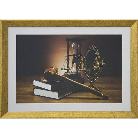 Quadro Advocacia Símbolos da Justiça com Moldura Dourada 55x40cm