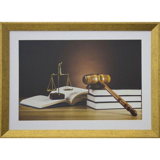 Quadro Advocacia Símbolos da Justiça com Moldura Dourada Ii 55x40cm