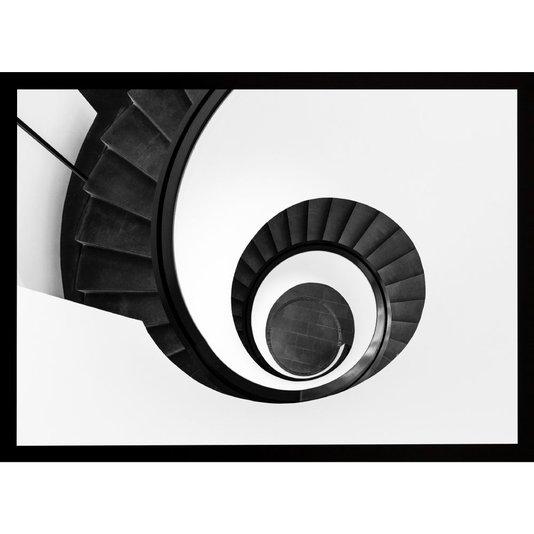 Quadro Arquitetônico Preto e Branco Escadas em Espiral 70x50 cm