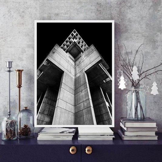 Quadro Arquitetura Fachada Arranha-céu em Preto e Branco 60x80cm