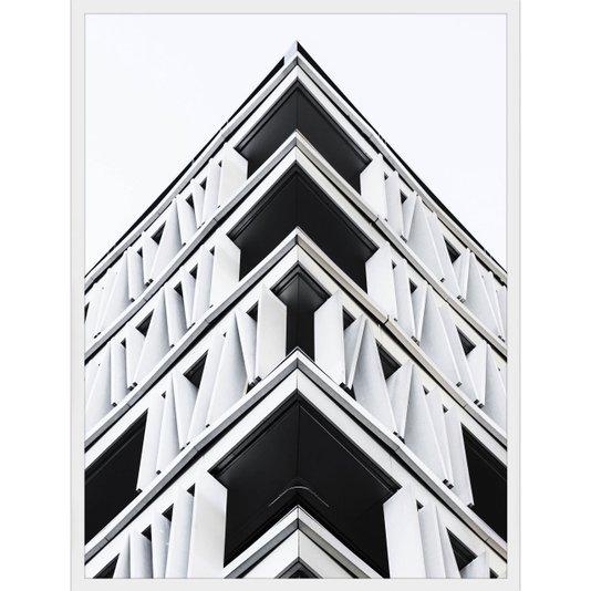 Quadro Arquitetura Fachada de Edifício em Preto e Branco 60x80cm