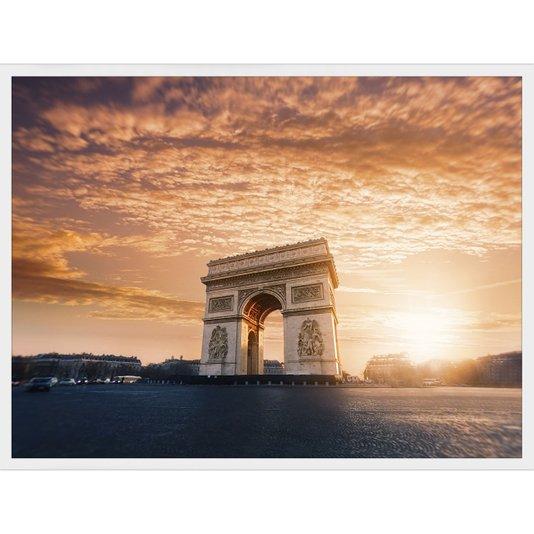 Quadro Arquitetura Paisagem Pôr do Sol, Arco do Triunfo Paris 80x60cm