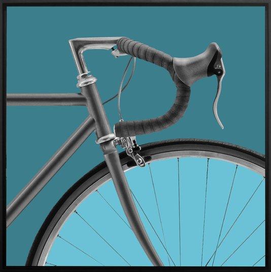 Quadro Canvas Bicicleta Speed em Tons Azuis Por Dorival Moreira
