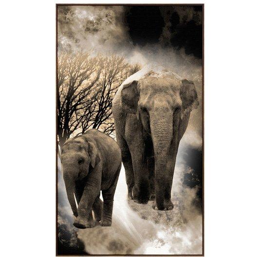 Quadro Canvas com Moldura Tela Imagem de Elefantes 120x210cm