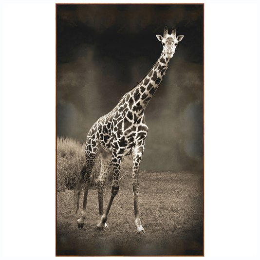 Quadro Canvas com Moldura Tela Imagem de Girafa 120x210 Cm