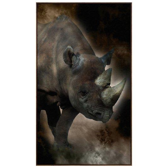 Quadro Canvas com Moldura Tela Imagem de Rinoceronte 120x210cm