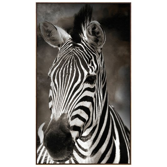 Quadro Canvas com Moldura Tela Imagem de Zebra 120x210cm