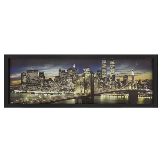 Quadro com Fotografia Ponte do Brooklyn a Noite New York 90x30cm
