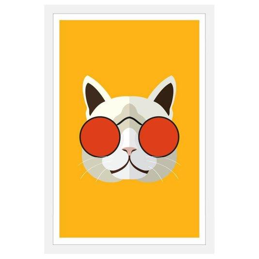 Quadro com Gato de Óculos Vermelho em Fundo Amarelo com Moldura Branca 40x60cm