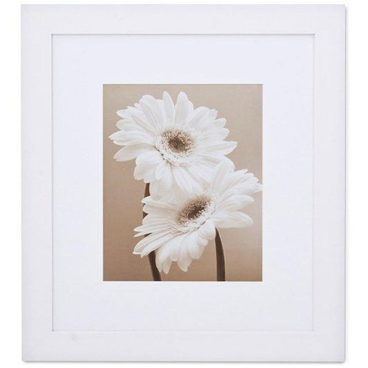 Quadro com Moldura Branca Decorativo Flor Margarida Branca 80x90cm