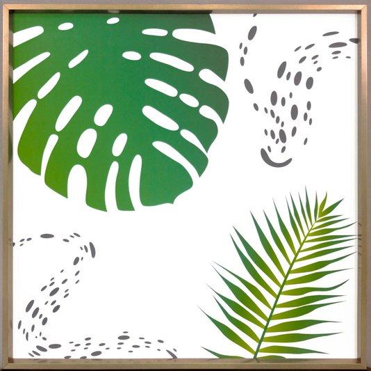 Quadro com Moldura Bronze Chanfrada Folhas Verdes 50x50 cm