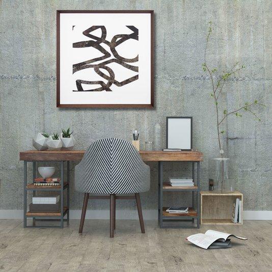 Quadro com Moldura Chanfrada Marrom Arte Abstrata 70x70cm