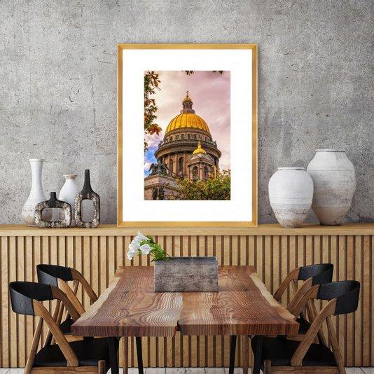Quadro com Moldura Dourada Catedral de Santo Isaac 65x85 cm