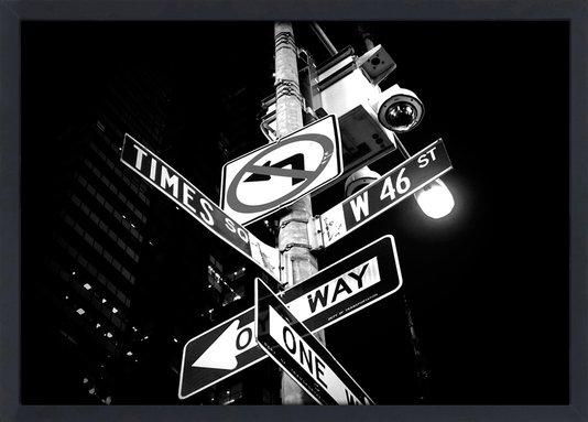 Quadro com Moldura e Vidro Placas Ruas de Nova York 30x20 cm