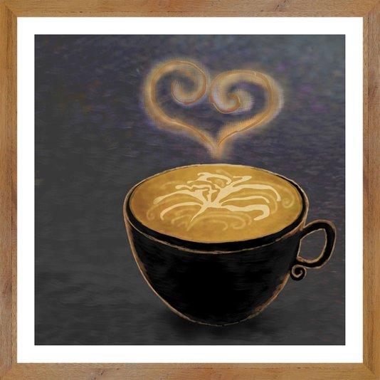 Quadro com Moldura Estilo Rústico Café com Amor 30x30 cm
