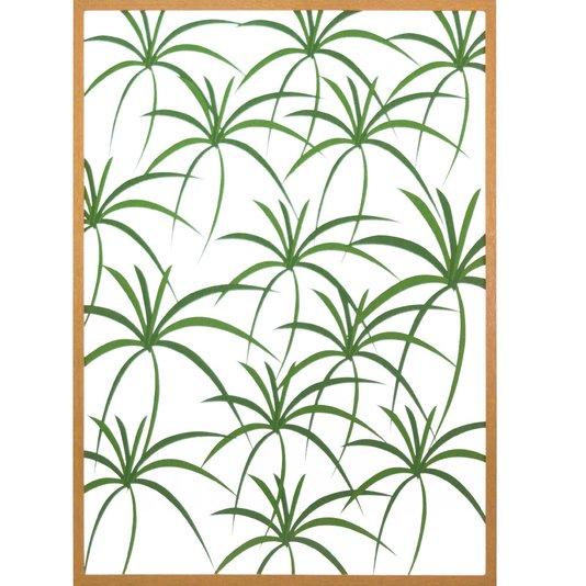Quadro com Moldura Marrom Fundo Branco com Folhas Verdes 50x70 cm