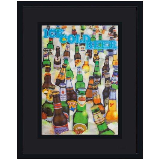 Quadro com Moldura Preta 3D Cervejas Geladas 75x95cm