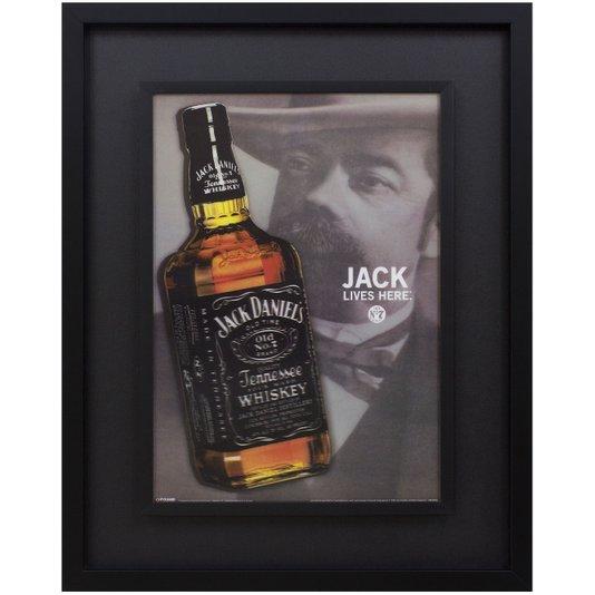 Quadro com Moldura Preta 3d Jack Daniels, Jack Lives Here 75x95cm