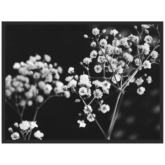 Quadro com Moldura Preta Decorativo em Preto e Branco Floral Arte Flowers II - 80x60cm