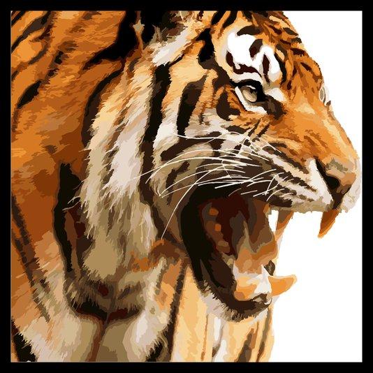 Quadro com Moldura Preta Tigre Rugindo 80x80 cm