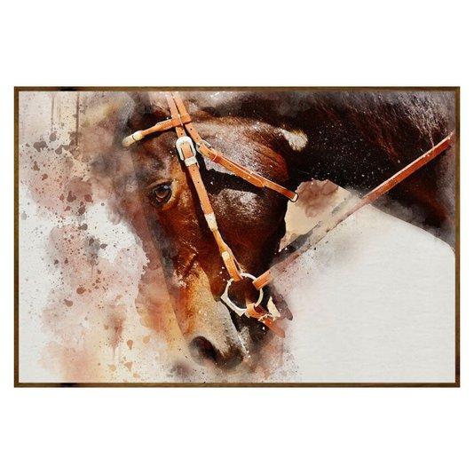 Quadro com Moldura Rústica Cavalo de Perfil 150x100cm
