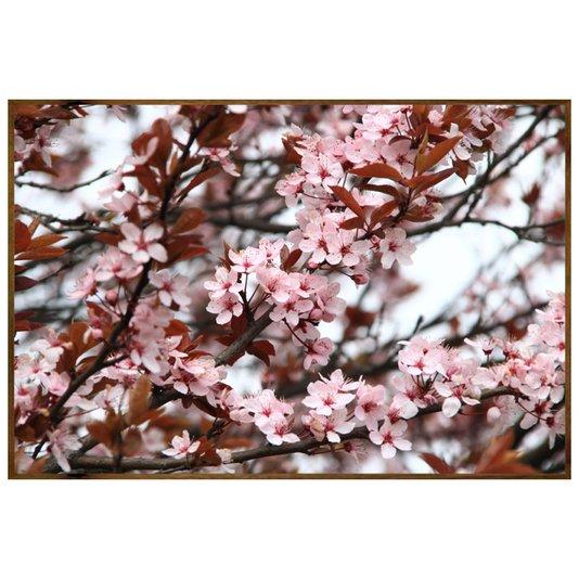 Quadro com Moldura Rústica Primavera Jasmim Flores Rosas 150x100cm