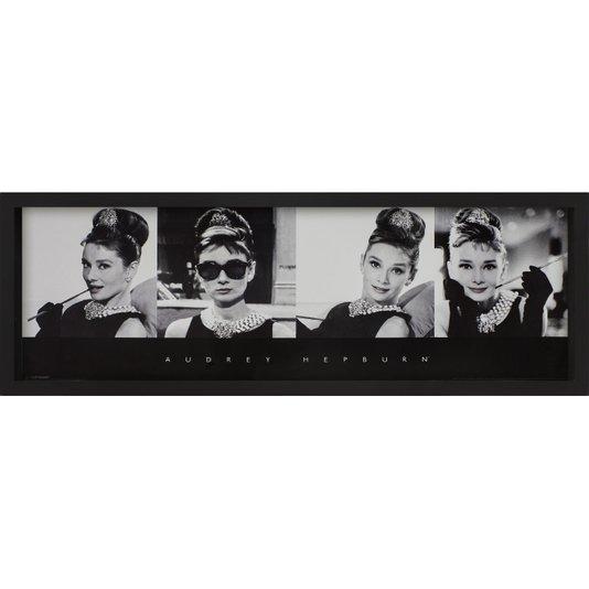 Quadro com Profundidade Audrey Hepburn Branco e Preto 90x30cm