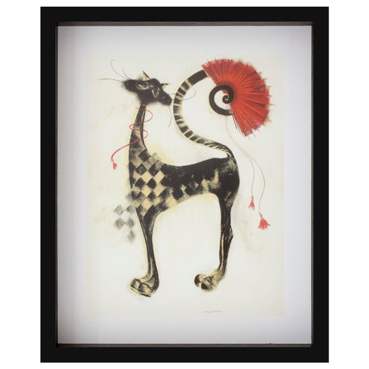 Quadro com Profundidade O Gato Sebastian com Leque Vermelho 40x50cm