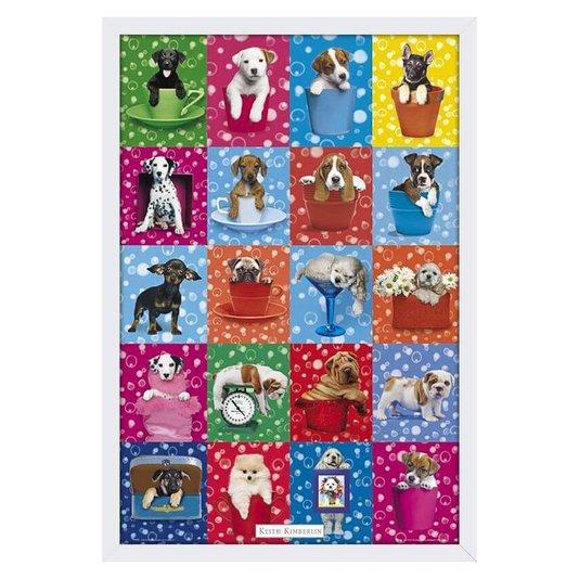 Quadro com Vidro Poster Filhotes de Cachorros Várias Raças 60x90cm
