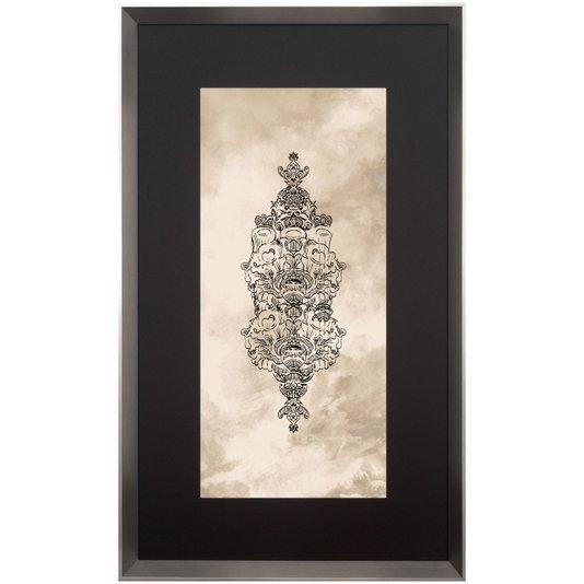 Quadro Contemporâneo com Moldura Prata Ornamento 60x100 cm
