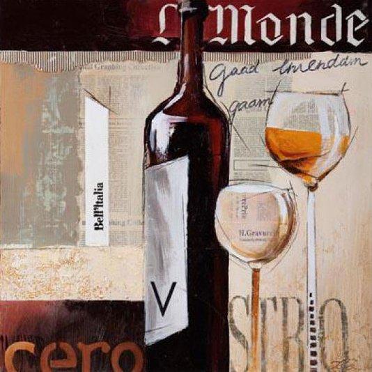 Quadro de Bebidas em Tela Decorativa Vinho L Monde 40x40cm