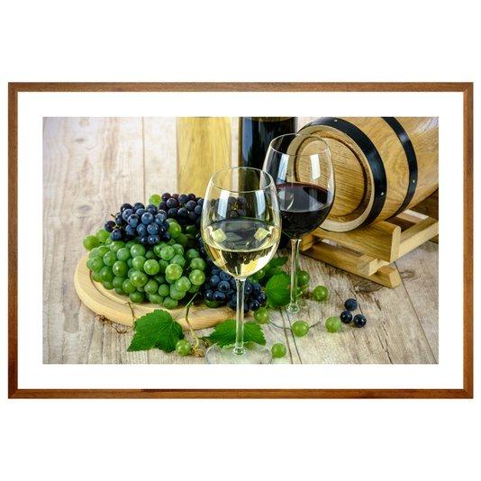 Quadro de Bebidas Mesa Posta Vinho e Uvas 90x60 Cm