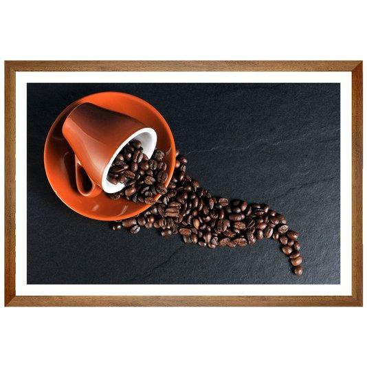 Quadro de Bebidas Xícara com Grãos de Café 60x40 Cm