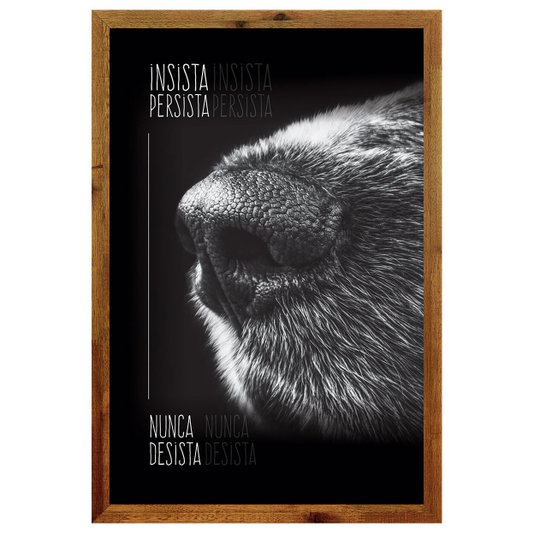 Quadro de Cachorro com Moldura Rústica e Frase Insista Persista Nunca Desista 40x60cm