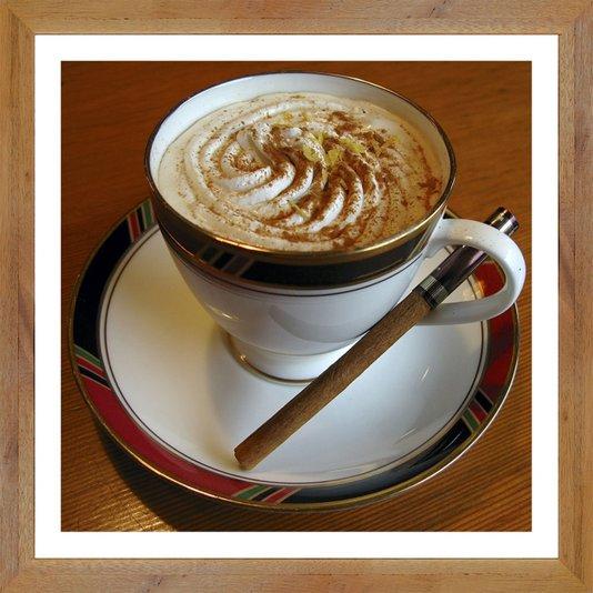 Quadro de Café Decorativo com Moldura Estilo Rústico 30x30 cm